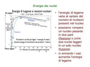 Energia+dai+nuclei+l_energia+di+legame+varia+al+variare+del+numero+di+nucleoni+presenti+nel+nucleo.